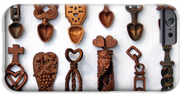 Symbol Sculptures iPhone Cases - Love Spoons iPhone Case by Karen Adams