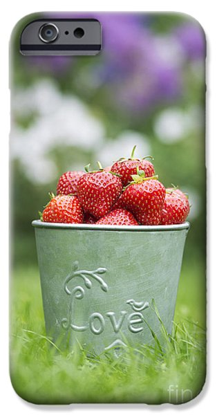 Love Strawberries iPhone Case by Tim Gainey