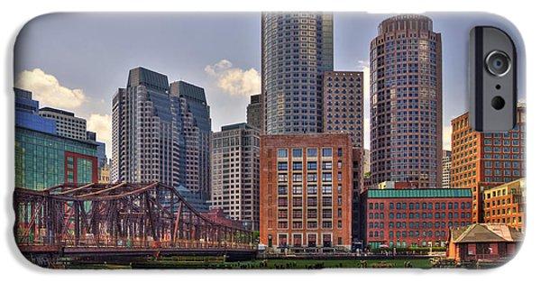 City. Boston iPhone Cases - Love that Dirty Water - Boston Skyline iPhone Case by Joann Vitali