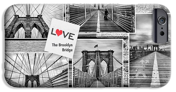 U.s.a. iPhone Cases - Love the Brooklyn Bridge iPhone Case by John Farnan