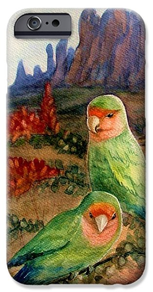 Marilyn Smith Paintings iPhone Cases - Lovebirds iPhone Case by Marilyn Smith