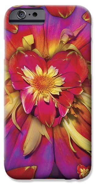 Abstract Digital Digital Art iPhone Cases - Loveflower Orangered iPhone Case by Alixandra Mullins