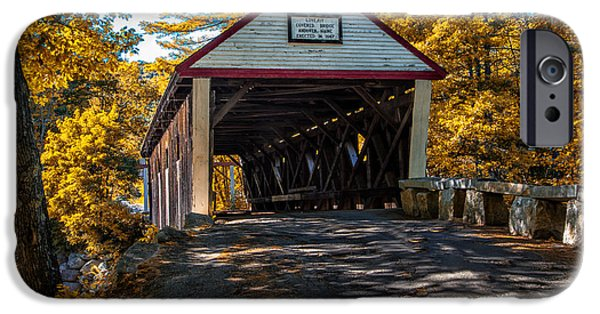 Rural Maine Roads iPhone Cases - Lovejoy Covered Bridge iPhone Case by Bob Orsillo