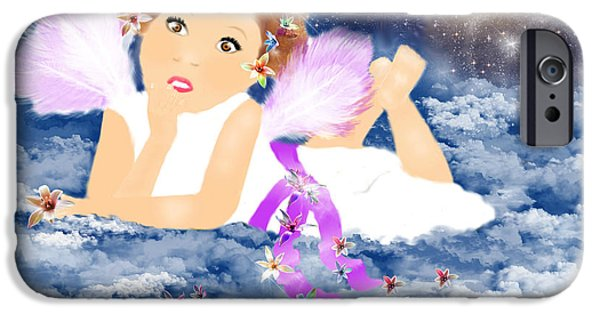 Night Angel Mixed Media iPhone Cases - Angel Dream iPhone Case by Sannel Larson
