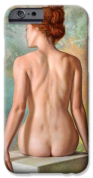 Figure iPhone Cases - Lovely Back-Becca in Abstract iPhone Case by Paul Krapf
