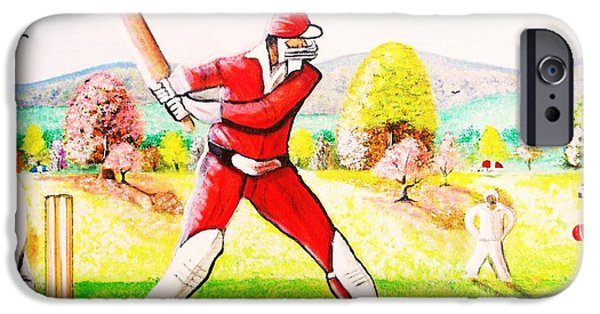 Bat Pyrography iPhone Cases - Lovely Day For Cricket. iPhone Case by Roejae Baptiste