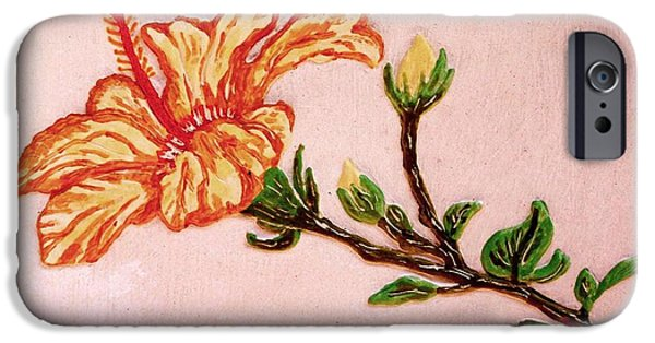 Yellow Reliefs iPhone Cases - Lovely Hibiscus iPhone Case by Alberto H-B