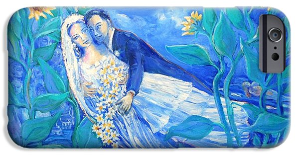 Young Paintings iPhone Cases - Lovers and Sunflowers  after Marc Chagall  iPhone Case by Trudi Doyle