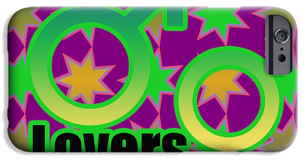 Young Mixed Media iPhone Cases - Lovers in pop art iPhone Case by Toppart Sweden