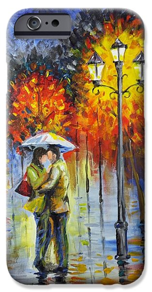 Night Lamp Mixed Media iPhone Cases - Lovers in the rain iPhone Case by Harry Speese