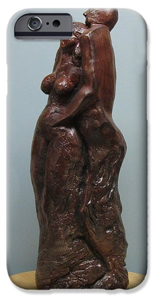 Person Sculptures iPhone Cases - Lovers iPhone Case by Nili Tochner