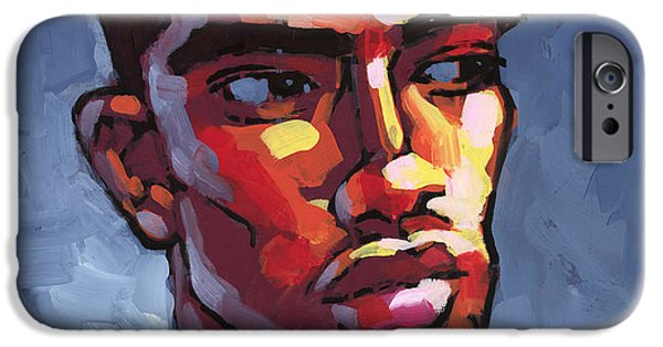 Figures Paintings iPhone Cases - Loves Football iPhone Case by Douglas Simonson
