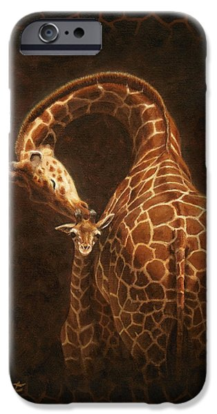 Giraffes iPhone Cases - Loves Golden Touch iPhone Case by Crista Forest