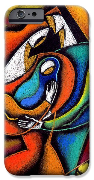 Bonding Paintings iPhone Cases - Loving family iPhone Case by Leon Zernitsky