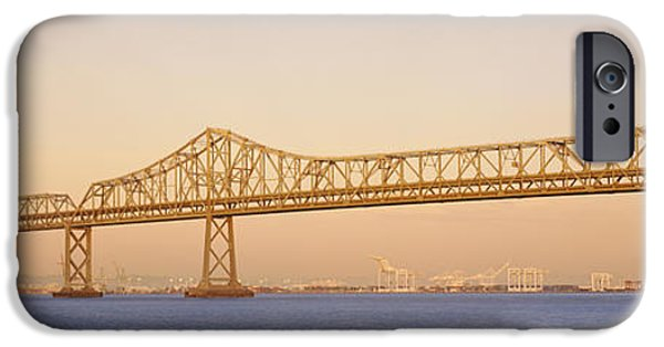 Bay Bridge iPhone Cases - Low Angle View Of A Bridge, Bay Bridge iPhone Case by Panoramic Images