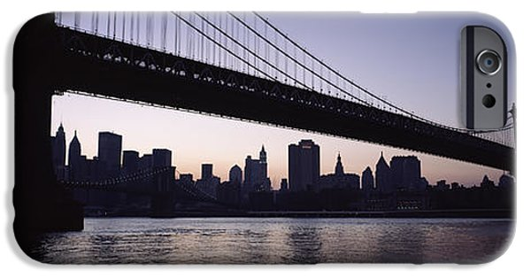 Built Structure iPhone Cases - Low Angle View Of A Bridge, Manhattan iPhone Case by Panoramic Images