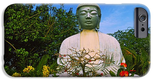 Buddhism iPhone Cases - Low Angle View Of A Buddha Statue iPhone Case by Panoramic Images