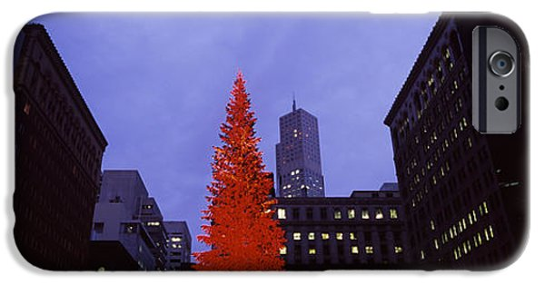 Built Structure iPhone Cases - Low Angle View Of A Christmas Tree, San iPhone Case by Panoramic Images