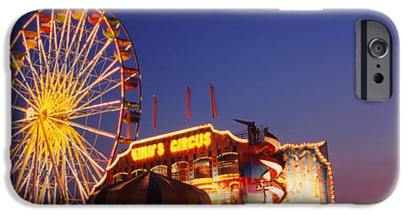 Weekend Activities iPhone Cases - Low Angle View Of A Ferries Wheel Lit iPhone Case by Panoramic Images