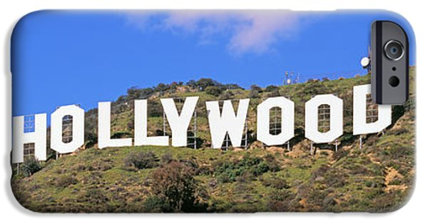 Sign iPhone Cases - Low Angle View Of A Hollywood Sign iPhone Case by Panoramic Images