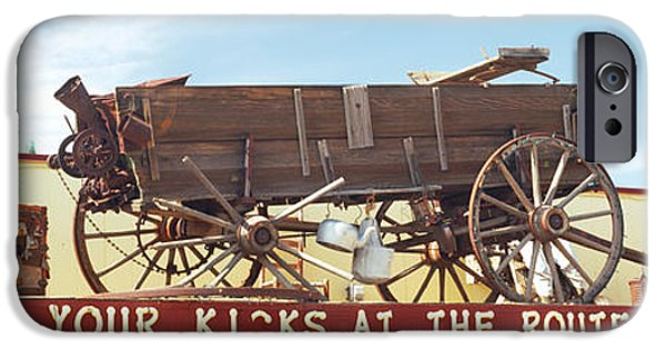 Horse iPhone Cases - Low Angle View Of A Horse Cart Statue iPhone Case by Panoramic Images