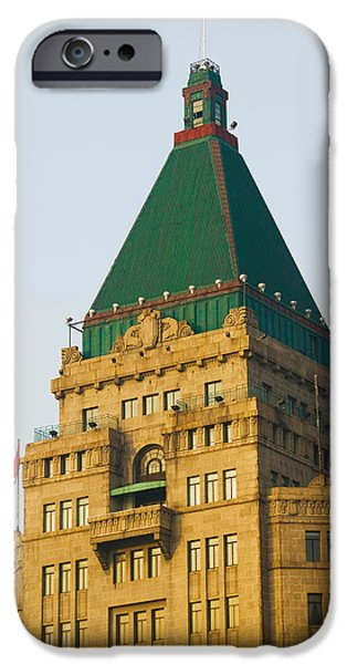 Finance iPhone Cases - Low Angle View Of A Hotel, Peace Hotel iPhone Case by Panoramic Images