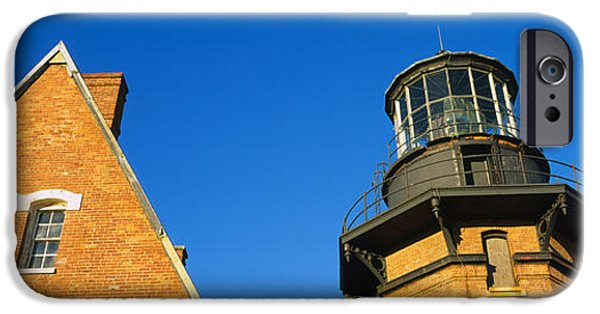 New England Lighthouse iPhone Cases - Low Angle View Of A Lighthouse, Block iPhone Case by Panoramic Images