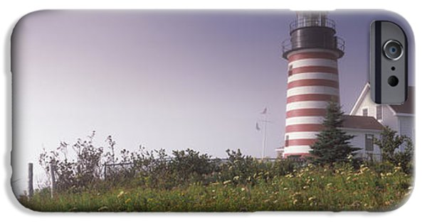 West Quoddy Head Lighthouse iPhone Cases - Low Angle View Of A Lighthouse, West iPhone Case by Panoramic Images