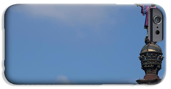Christopher Columbus iPhone Cases - Low Angle View Of A Monument, Columbus iPhone Case by Panoramic Images
