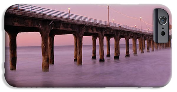 Morning iPhone Cases - Low Angle View Of A Pier, Manhattan iPhone Case by Panoramic Images