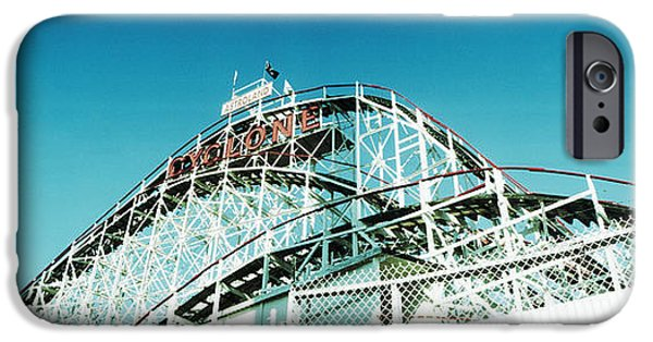 Rollercoaster Photographs iPhone Cases - Low Angle View Of A Rollercoaster iPhone Case by Panoramic Images