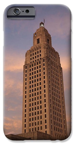 Baton Rouge iPhone Cases - Low Angle View Of A State Capitol iPhone Case by Panoramic Images