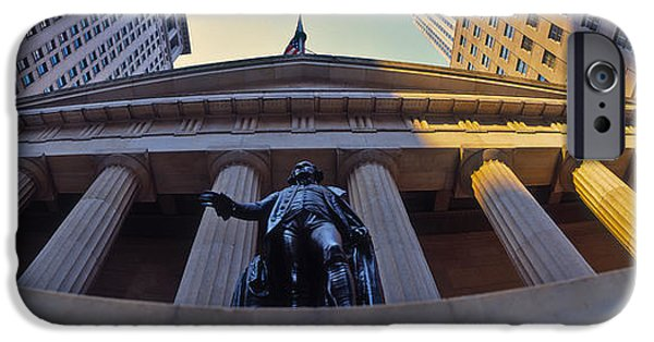 Exchange Place iPhone Cases - Low Angle View Of A Stock Exchange iPhone Case by Panoramic Images