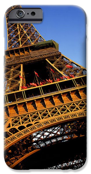 Built Structure iPhone Cases - Low Angle View Of A Tower, Eiffel iPhone Case by Panoramic Images