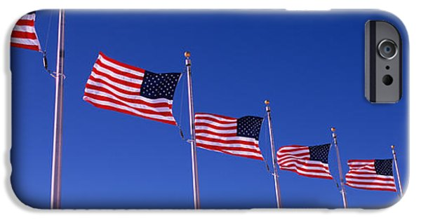 National Mall iPhone Cases - Low Angle View Of American Flags iPhone Case by Panoramic Images