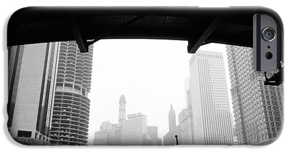 American Flag iPhone Cases - Low Angle View Of Buildings, Chicago iPhone Case by Panoramic Images