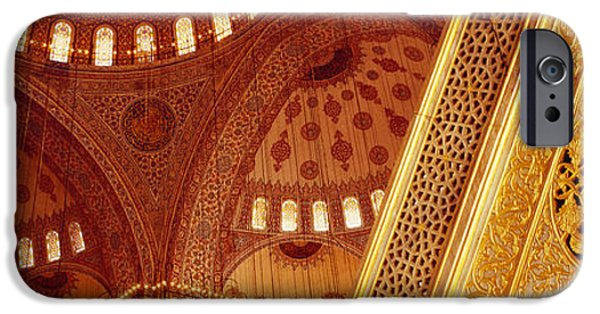 Decor Photography iPhone Cases - Low Angle View Of Ceiling Of A Mosque iPhone Case by Panoramic Images