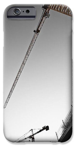 Construction Site iPhone Cases - Low Angle View Of Cranes Monaco iPhone Case by Carlos Sanchez Pereyra