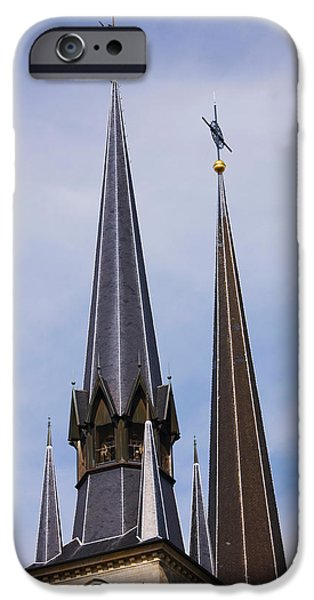 Notre Dame Cathedral iPhone Cases - Low Angle View Of Spires Of The Notre iPhone Case by Panoramic Images