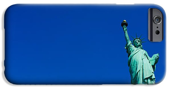 New York City iPhone Cases - Low Angle View Of Statue Of Liberty iPhone Case by Panoramic Images