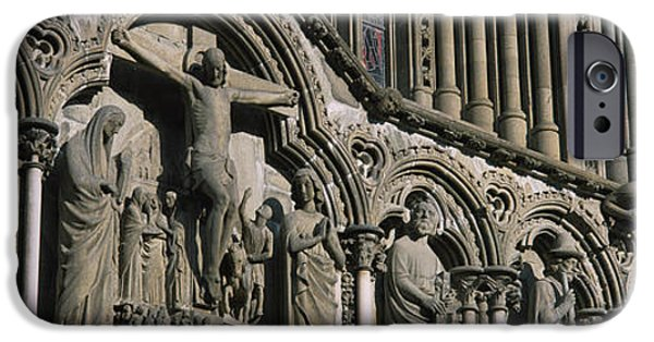 Norway iPhone Cases - Low Angle View Of Statues Carved iPhone Case by Panoramic Images