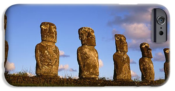 Art Medium iPhone Cases - Low Angle View Of Statues In A Row iPhone Case by Panoramic Images