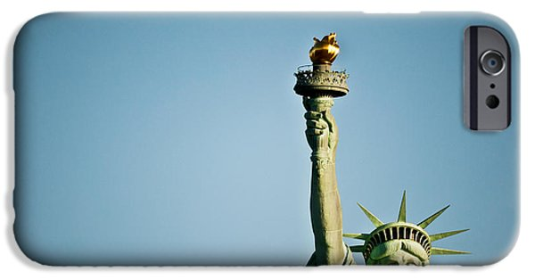 Patriotism iPhone Cases - Low Angle View Of The Statue Of iPhone Case by Panoramic Images