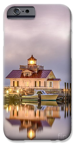 Lighthouse Pyrography iPhone Cases - Low Clouds iPhone Case by Dan Waters