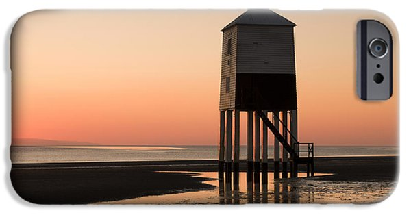 Nineteenth iPhone Cases - Low Lighthouse Sunset iPhone Case by Anne Gilbert