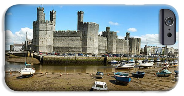 Ruins iPhone Cases - Low tide at Caernarfon iPhone Case by Jane Rix