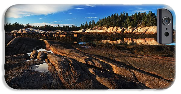 Gulf Of Maine iPhone Cases - Low Tide at Great Wass iPhone Case by Bill Caldwell -        ABeautifulSky Photography