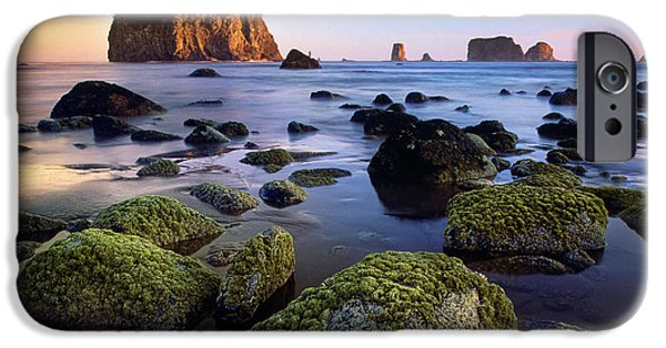 Harmonious iPhone Cases - Low Tide at Second Beach iPhone Case by Inge Johnsson