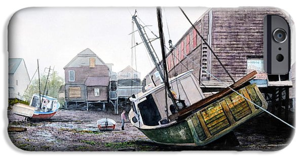 Maine iPhone Cases - Low Tide in Lubec iPhone Case by Bill Hudson