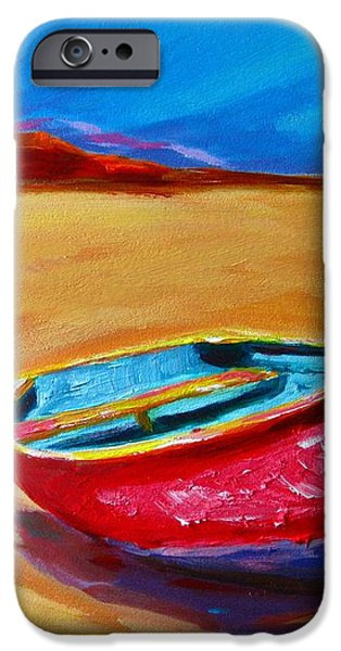 Low Tides - Landscape of a red boat on the beach iPhone Case by Patricia Awapara